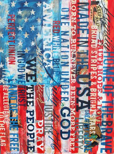 Made In The USA - 36x48, mixed media on canvas