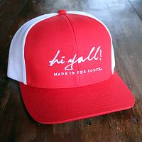 Red and White Structured Cap